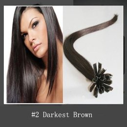 6A Brazilian Virgin Hair Bundles Nail Tip U-Tip Hair Extensions Darkest Brown #2 Straight 1g Keratin Stick Hair Human Remy Hair 100s  Lot