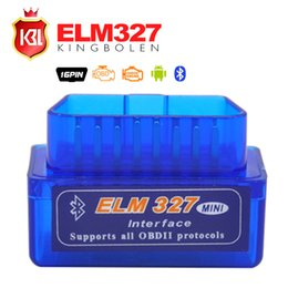 Promotion pc gratuit Gros-2015 Livraison gratuite Super Mini ELM327 Interface Bluetooth V2.1 OBD2 II Auto Diagnostic Tool ELM 327 Work ON Android couple / PC