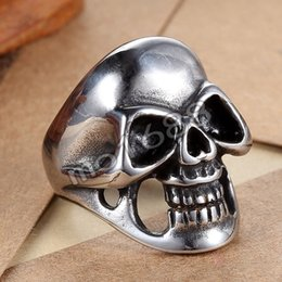 361L Stainless Steel Smooth Polished Skull Punk Rock Biker Ring Size 7-13