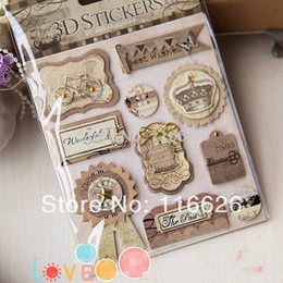 Wholesale ome Decor Wall Sticker New Arrivals Antique Yellowing Phrase Tag D Words frame Stickers Set for Gift DIY Photo Album Scrapboo sets