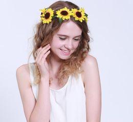 Wholesale New Women Wedding Floral Crown Sunflower Garlands Girl Hairband Tiara Festival Ornament Bohemian Style Beach Headbands for