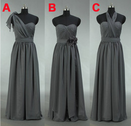 Grey Convertible Bridesmaid Dresses Long Chiffon Cheap Maid Of Honor Dresses Plus Size Formal Dresses Real Photo Country Bridesmaids Dress