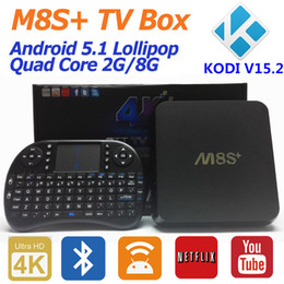 Wholesale Original M8S Plus Android TV Box M8S Amlogic S812 Quad Core G G Kodi Pre install K H G G WiFi Air Mouse Keyboard