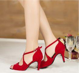 Wholesale Women s cm dance shoes heels International Latin Dance Gala ballroom Rumba Samba cowboy bull Tango Flamenco Shoes red blue black33
