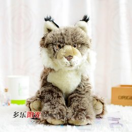 Wholesale-Free Shipping WWF Iberian Lynx doll, simulation wild animals, plush toys, simulation animal model, birthday gift baby toys