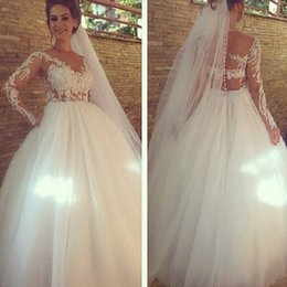 2017 manches longues boutons robe backless de mariage Illusion V Neck Sequined Blanc Lace Long Manches Robes de Mariée 2015 Appliques Button Backless Robes de Mariée Plus Size Custom Made manches longues boutons robe backless de mariage offres
