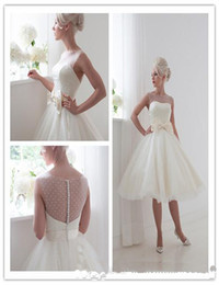 Wholesale House Of Mooshkip Simple Short Wedding Dresses Ball Gown Sheer Neck See Through Tea Length Belt In Bows Bridal Gowns Organza Cheap