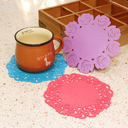 Lovely Rose Silicone Round Cup Bowl Insulation Mat Table Non-Slip Potholder Tableware Pad Home Hotel Placemat M size 16cm