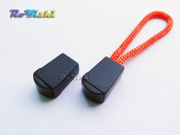 100pcs Clips Rope Buckle Zipper Pulls Cord Ends Lock Black For Paracord