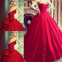 Vintage Princess Red Wedding Dresses Formal Dress Ball Gowns Bodice Sweetheart Floor Length Big Bow Back Backless Wedding Bride Dresses