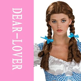 Wholesale Cinderella Fancy Dress Costume Wigs braided pigtail Dorothy Wizard of Oz Wig LC0146 fairy girl wigs FG1511