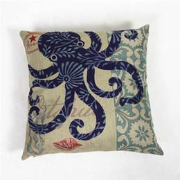 Wholesale Pillows Wedding Pillow Unique Blue Ocean Series Cotton Linen Cushion Cover Home Decor Throw Pillow Case Pillow Cases