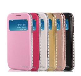 Wholesale Good Sale For Samsung S4 Bling Glitter Leather Holder Flip Diamond Bumper Metal Diamante Rim Frame Phone Cases Luxury Back Phone Covers Skin