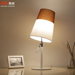 Wholesale wrought iron art adjustable lamp holder table lamps fabric lampshade desk lights white salt color matching living room lamps night light