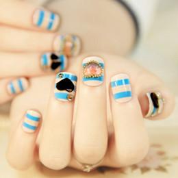 Wholesale Marine blue strip daily wear false nails art decoration artificial false nail tips salon nails