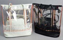 La moda bolsas de plástico transparentes en Línea-Al por mayor-verano de Corea mujeres del estilo de los bolsos del bolso de plástico jalea cristalina del cordón de playa de moda femenina transparentes bolsas de hombro ocasional