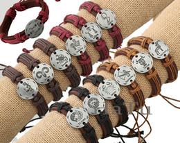 Lots Free Ship Adjustable unisex assorted gifts pewter metal twelve constellation Zodiac bracelets bands