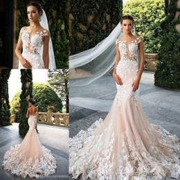 Milla Nova 2017 Cap Sleeve Mermaid Wedding Dresses Sheer Neck Lace Appliques Illusion Plus Size Backless Bridal Gowns Wedding Gowns Vestios