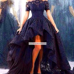 Wholesale 2015 New Off The Shoulder Prom Dresses Short Sleeves Lace High Low Party Evening Dresses