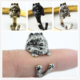 Free shipping wholesale retro punk Pomeranian Ring free size cute hippie animal Pomeranian dog Ring jewelry for pet lovers