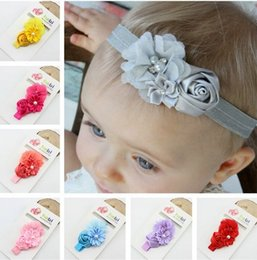 Wholesale Fashion Baby Hair Accessories Rose Flower headbands Pearl Rhinestone Combination Girls Hair Band Kids Headband Card paper packaging beige