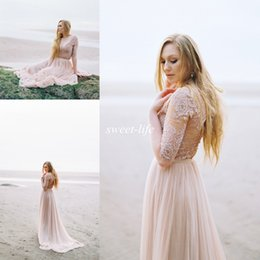 Romantic 2019 Summer Beach Wedding Dresses with Half Sleeves Vintage Lace Sash Sheer V Neck Chiffon Cheap Bohemia Bridal Party Gowns