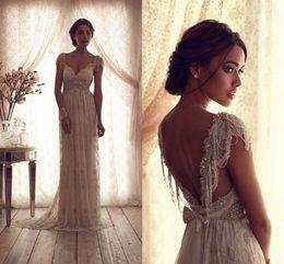 Wholesale 2016 Vintage Beach Wedding Dresses Deep V Neck Cap Sleeves Anna Campbell Lace Wedding Gowns Sexy Beaded Boho Wedding Dress