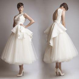 Stunning A-Line Backless Wedding Dresses Jewel Neck Tea Length Applique Bridal Gown