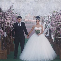 Strapless Wedding gown 2016 Wedding Dresses With Pearls Bridal Gown With Corset Back Cheap Bride Dresses Custom Made New Sexy