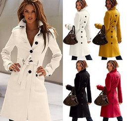 Wholesale New Autumn Winter Wool Coat Cashmere Middle Length Women s Outerwear Coats Slim Sexy Trench Coats Large Size Ladies Cloth Outwear Overcoat