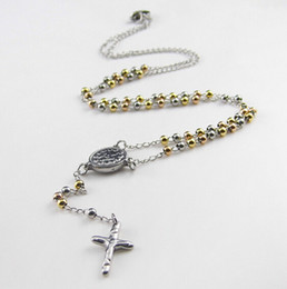 Popular Design Silver Chain Silver&Gold Beads 20'' Stainless steel 3mm Cross Crucifix JESUS Rosary Necklace For Women Free Shipping