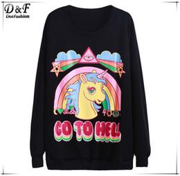2015 Spring Women Clothing Brand Designer Black Long Sleeve Unicorn Rainbow GO TO HELL Print Cartoon Animal Casual Sweatshirt