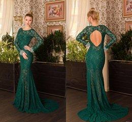 New Long Sleeve Green Lace Mermaid Evening Dresses With Open Back Court Floor Length Vesitods De Festa 2019 Prom Dresses Celebrity Dresses