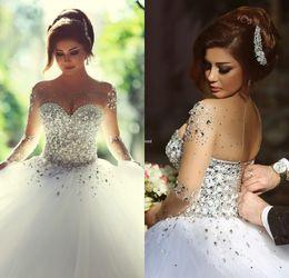 Wholesale Sheer Vintage Wedding Dresses White Black Girl Amazing Crystals Pearls Diamonds Bridal Gowns Long Sleeves Cool Lace up Vestido De Novia