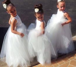 lovely girl Flower Girl Dresses fashion girl Pretty White Tulle Open Back Lace Appliques ball gown Flower Girl Dresses