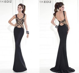 2015 Tarik Ediz Prom Dresses Black Nude Beaded Embroidery Mermaid Satin Backless Designer Evening party Formal pageant Dress Gown