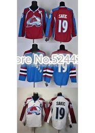 Wholesale Joe Sakic Jersey Colorado Avalanche Jerseys C patch claret red white blue Hockey Jerseys