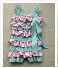 Wholesale Cute Acqua Pink Chevron Satin amp lace petti ruffles Baby Girl Romper sizes