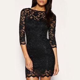 2015 New Fashion Bodycon Lady Women Lace Dress Slash O-Neck Mini Dress Black ,Free Shipping Dropshipping