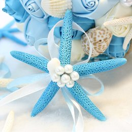 Wholesale Unique Beach Wedding Favors Bridal Wrist Flower New Arrival Light Sky Blue Ivory With Pearls For Bridesmaid EN7089