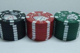 Wholesale 2016 super Zinc alloy Poker Chip Herb Grinder quot pc Grinder Colors layer Poker Herb Smoke Cigarette Grinder