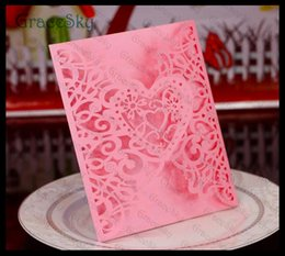 50PCS Free shipping Laser Cutting Paper Heart Love Lace Hollow Out Wedding Birthday X'mas Party Paper Invitation Card with Inner Blank Sheet