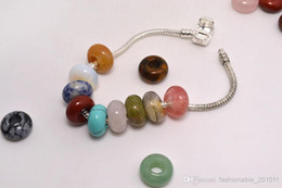 Wholesale natural Stone Gemstone Jewelry Round Beads High Polished Loose Beads mm Big Hole Fit Charms European Bracelet DIY B109y