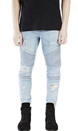 tr represent clothing slp beige light blue black mens designer clothes slim destroyed denim pants biker skinny rock ripped jeans