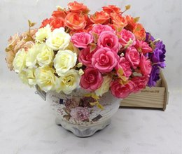 5 Bouquets One Bouquet 14 head Artificial Handmade Rose Flower Heads For Wedding Home Hotel Office Bridal Bouquet Decoration