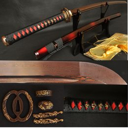 Wholesale Black Red Folded Steel Full Tang Blade Japanese Dragon Sword Samurai Katana