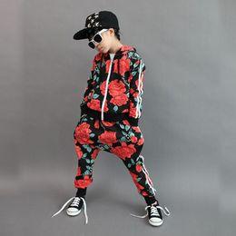 2016 Spring Autumn children's clothing set Red Flowers Print Costumes kids sport suits patchwork Hip Hop dance pant & sweatshirt SMP103