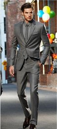 2015 Handsome Grey Groom Tuxedos Two Buttons Mens Wedding Suits Groomsmen Tuxedos Slim Fit Morning Suits (Jacket+Pants+Tie+Handkerchief)