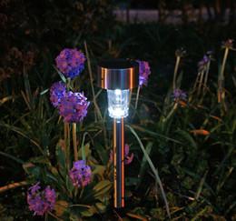 Voies d'aménagement paysager à vendre-Extérieur en acier inoxydable d'énergie solaire Changement de couleur Chemin LED Jardin Paysage Pathway Lumières Lampe de pelouse - Rainbow Couleur Light 0005
