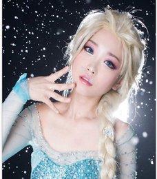 Hot Princess Frozen Snow Queen Elsa Weaving Braid Light Blonde Cosplay Wig Children Adult Snow Queen Gold Long wigs Gift